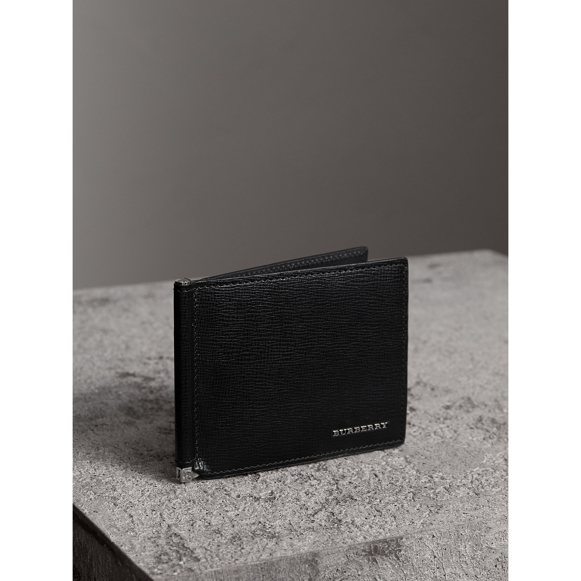 London Leather Money Clip Card Wallet in Black - Men | Burberry United States - gallery image 0