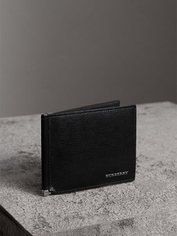 London Leather Money Clip Card Wallet in Black