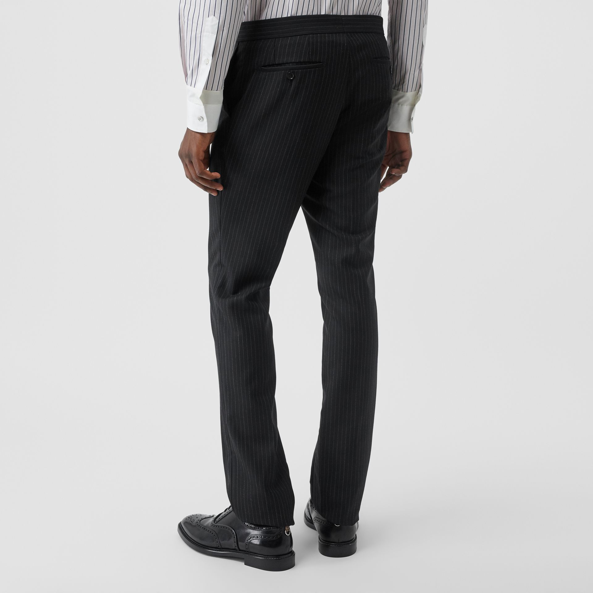 Classic Fit Pinstriped Wool Tailored Trousers in Black - Men | Burberry - gallery image 2