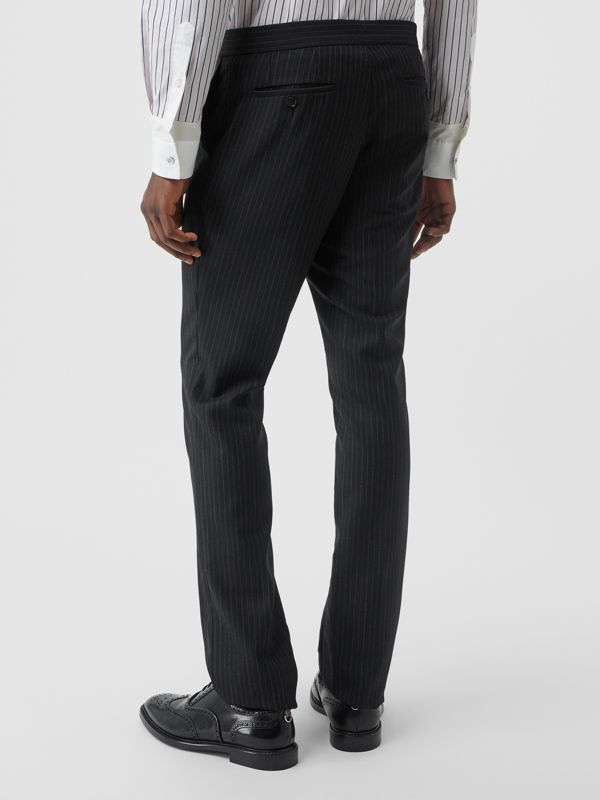 Classic Fit Pinstriped Wool Tailored Trousers in Black - Men | Burberry Canada - cell image 2