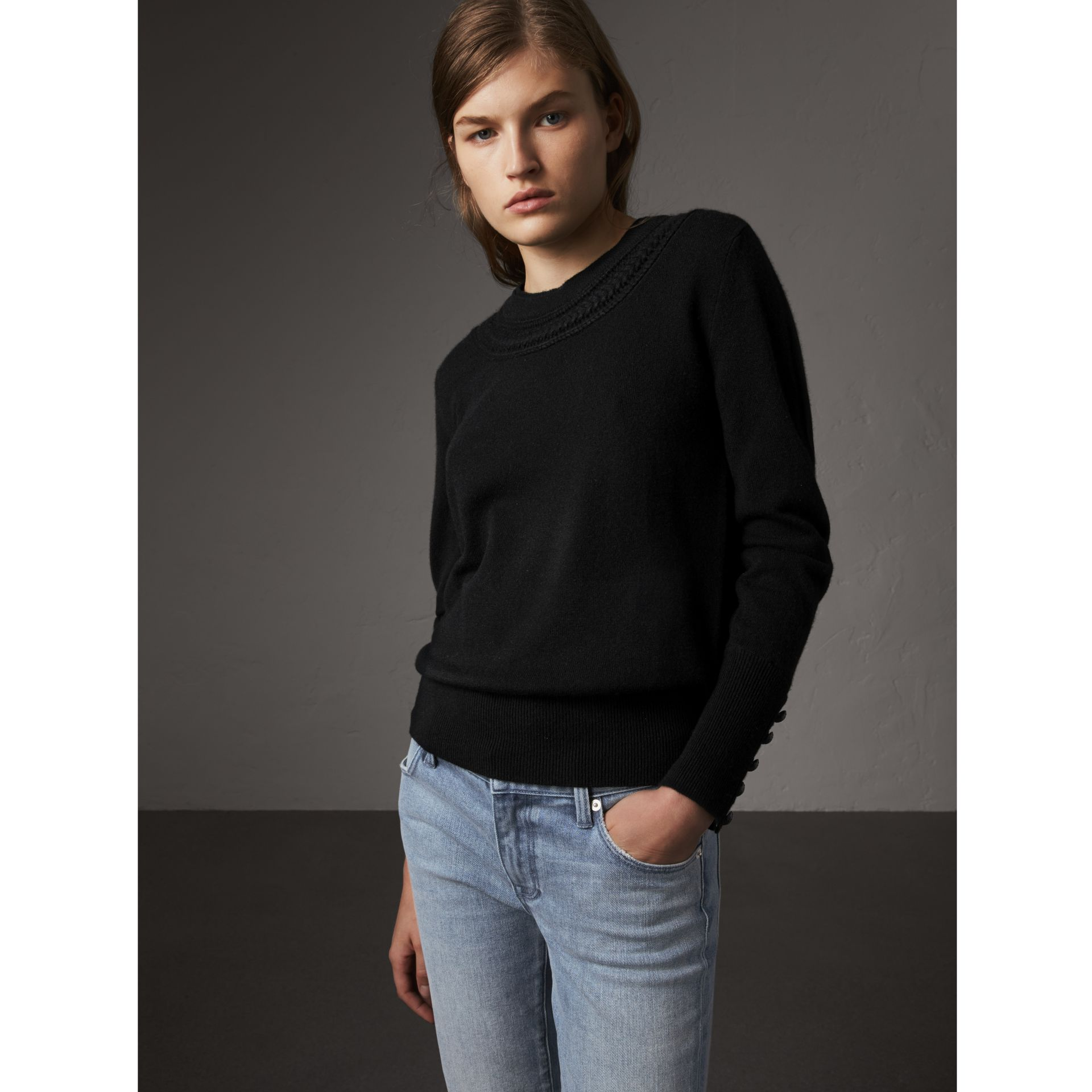 Cable Knit Yoke Cashmere Sweater in Black - Women | Burberry - gallery image 1