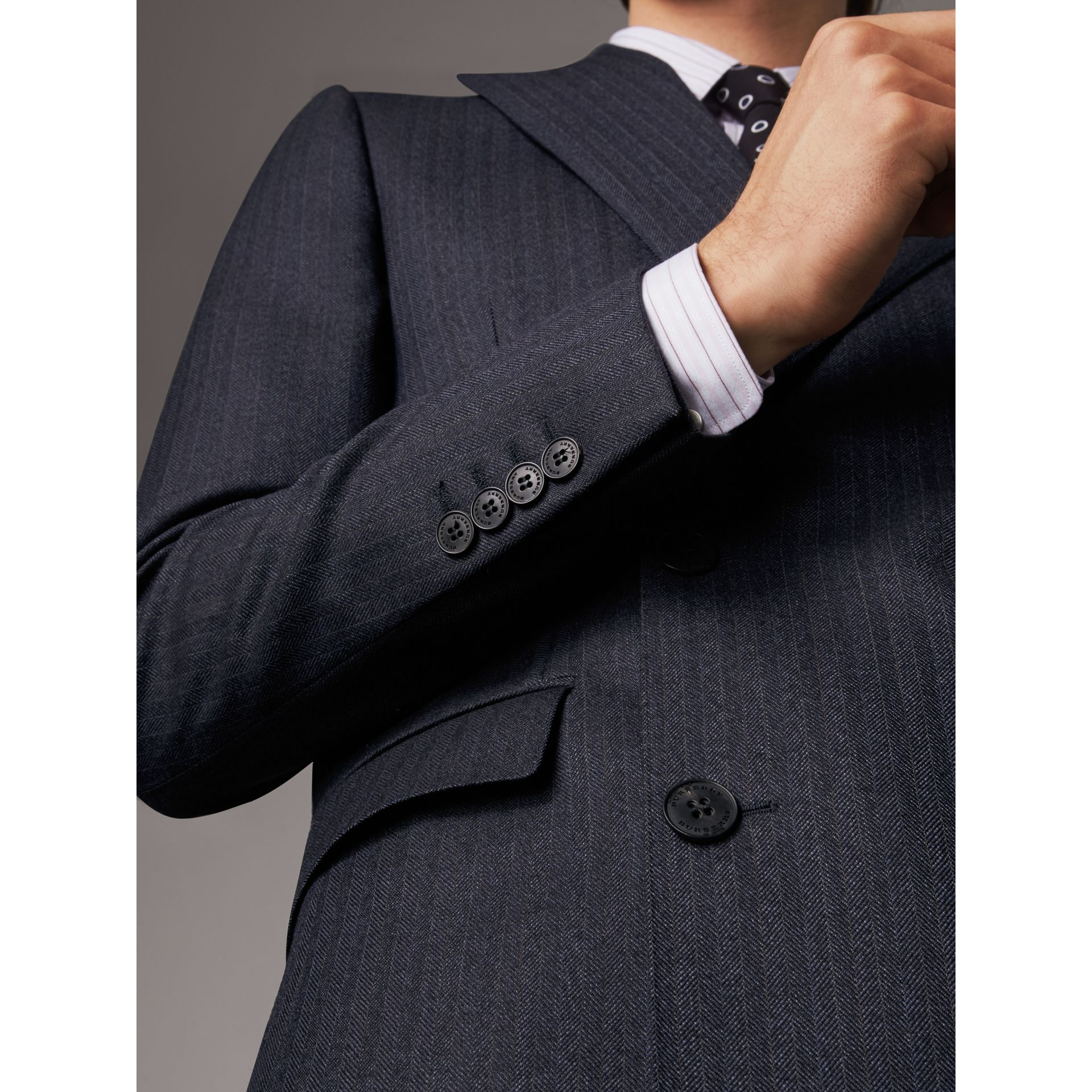Slim Fit Double-breasted Herringbone Wool Suit in Ink Blue - Men | Burberry - gallery image 2