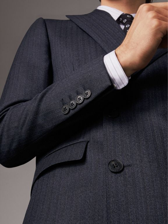 Slim Fit Double-breasted Herringbone Wool Suit in Ink Blue - Men | Burberry - cell image 1