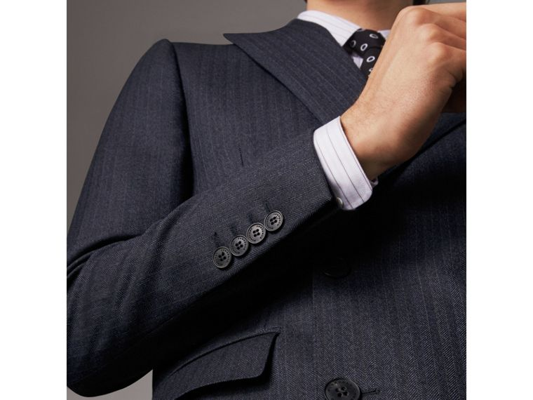 Slim Fit Double-breasted Herringbone Wool Suit in Ink Blue - Men | Burberry Canada - cell image 1