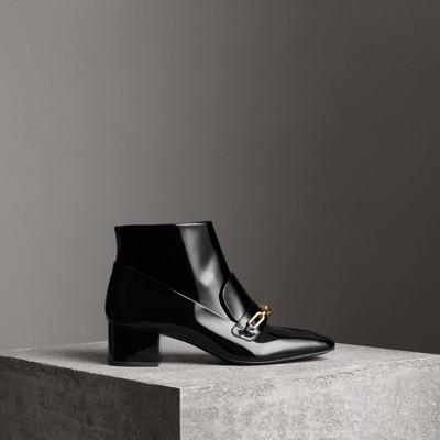 BurberryLink Detail Patent Leather Ankle Boots 2018 La Vente En Ligne Qualité Supérieure À Vendre exkSvxhp4