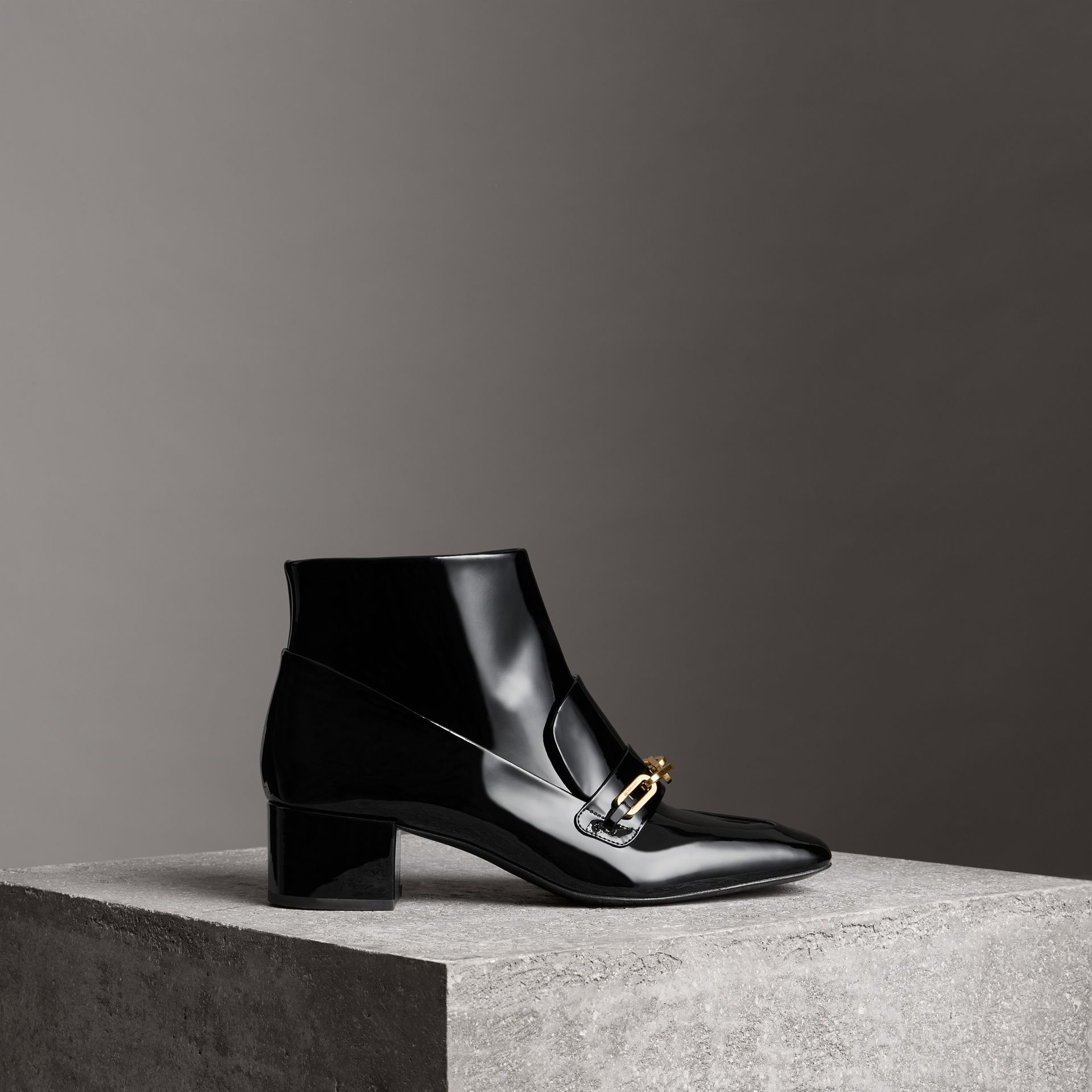 Link Detail Patent Leather Ankle Boots in Black - Women | Burberry - gallery image 0