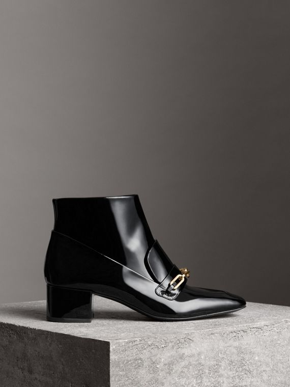 Link Detail Patent Leather Ankle Boots in Black