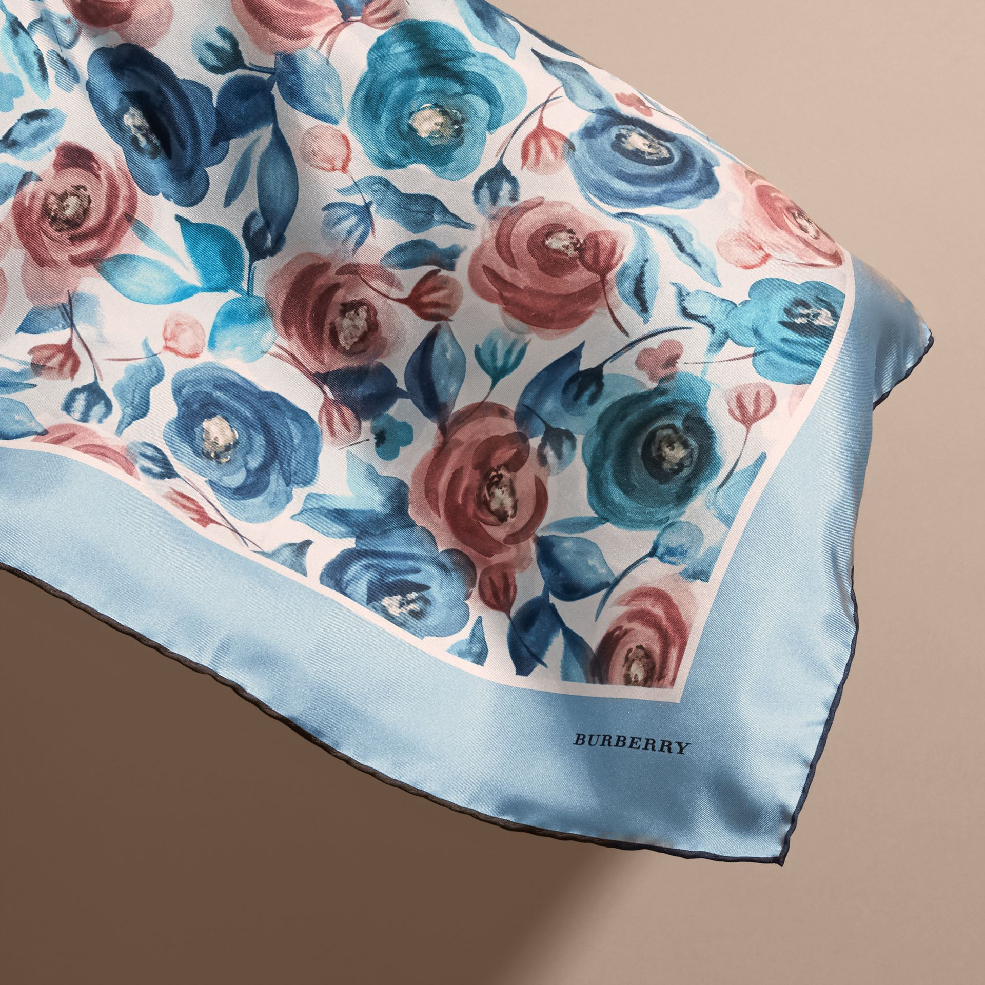 Teal blue Watercolour Rose Print Silk Square – Small - gallery image 4