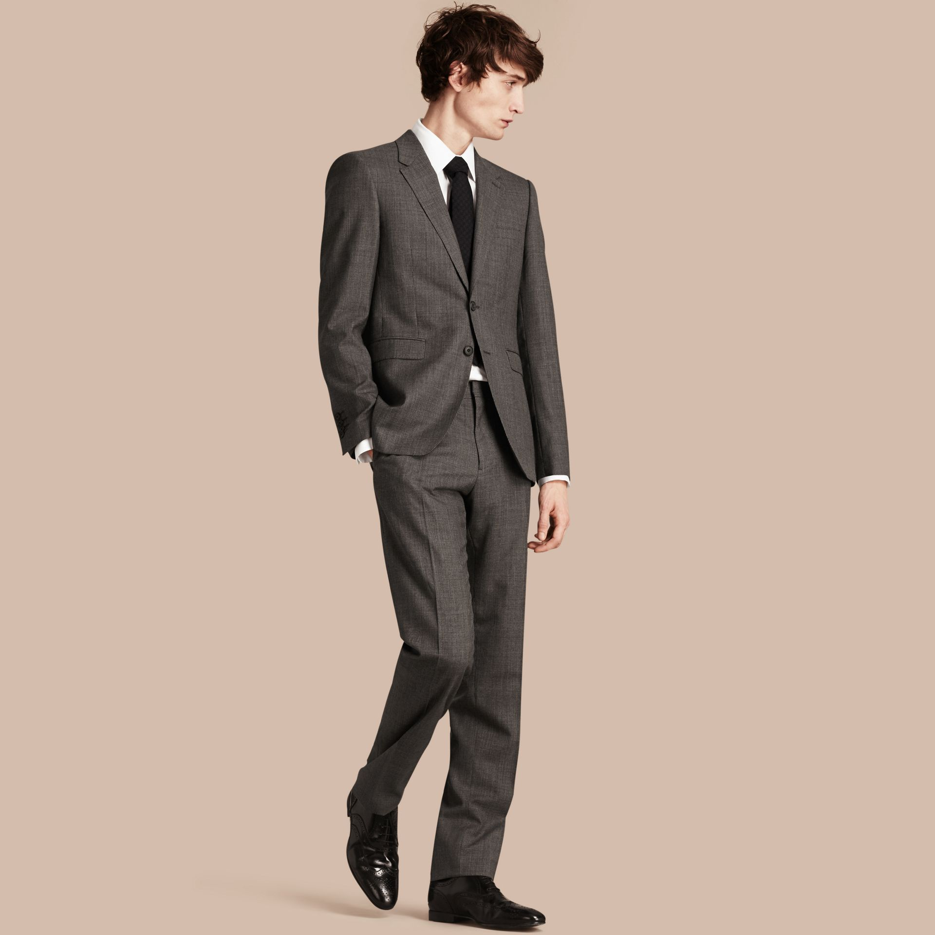 Mid grey melange Modern Fit Wool Cashmere Microcheck Part-canvas Suit - gallery image 1