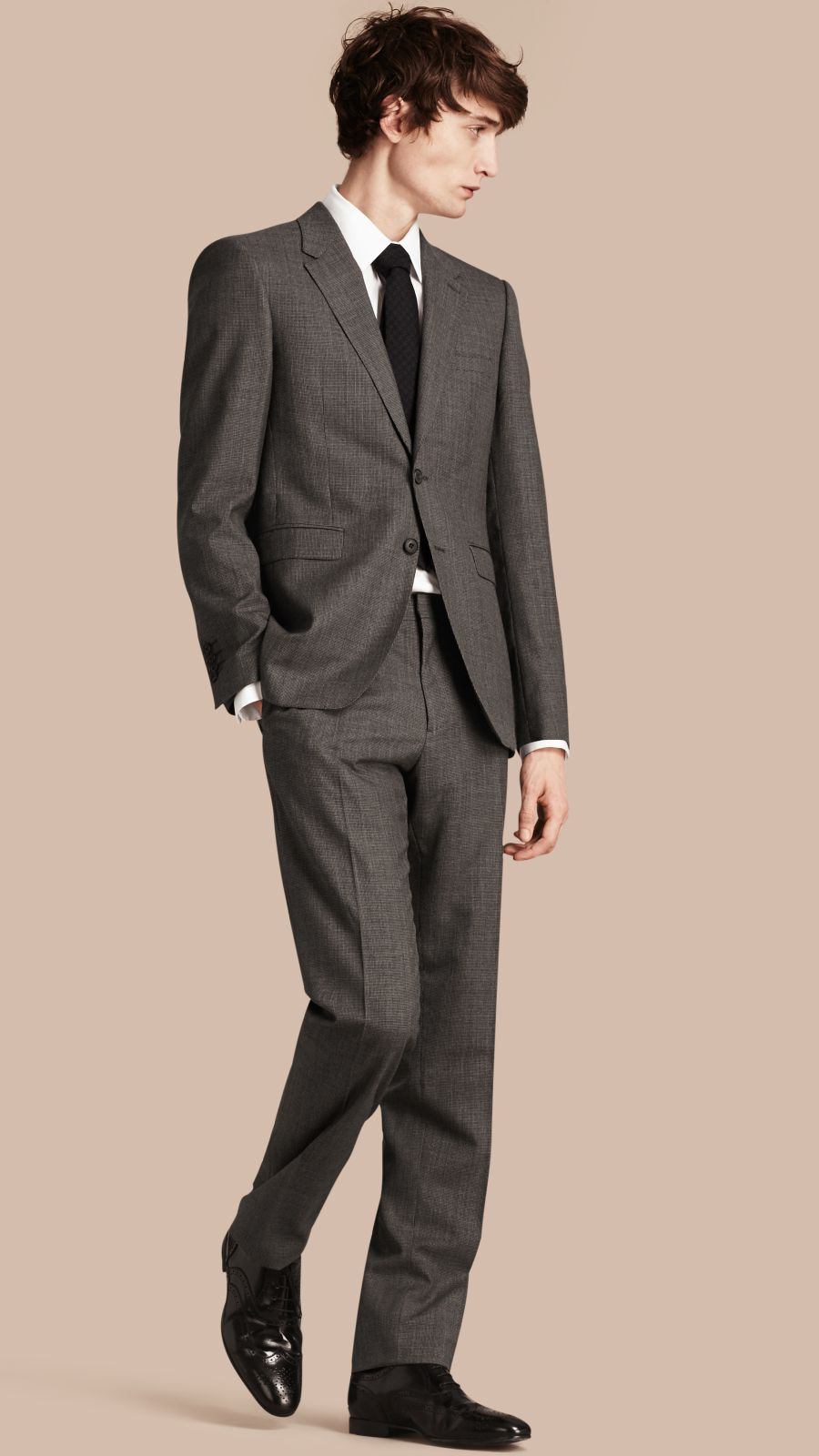 Mid grey melange Modern Fit Wool Cashmere Microcheck Part-canvas Suit - Image 1
