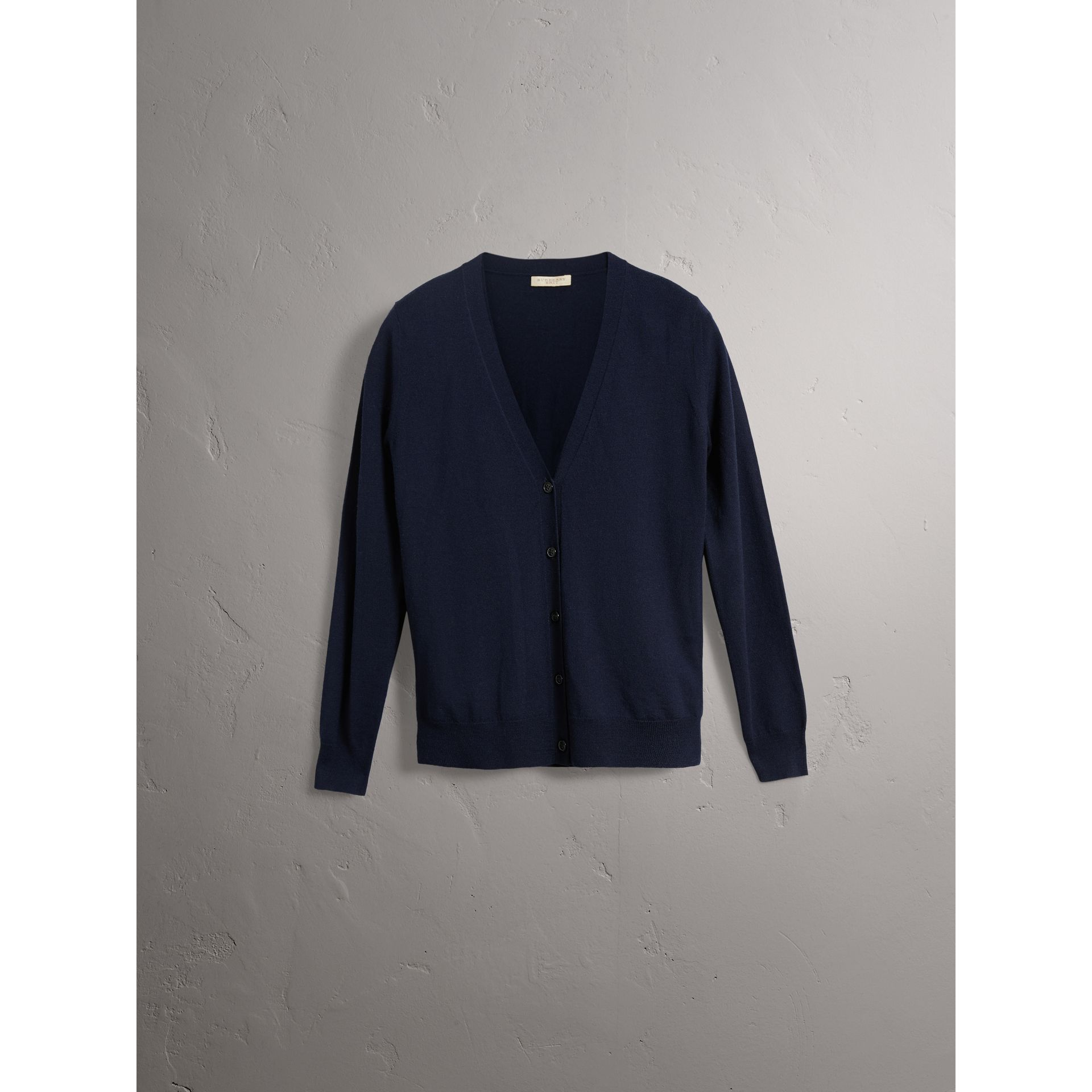 Check Detail Merino Wool Cardigan in Navy - Women | Burberry Hong Kong - gallery image 3