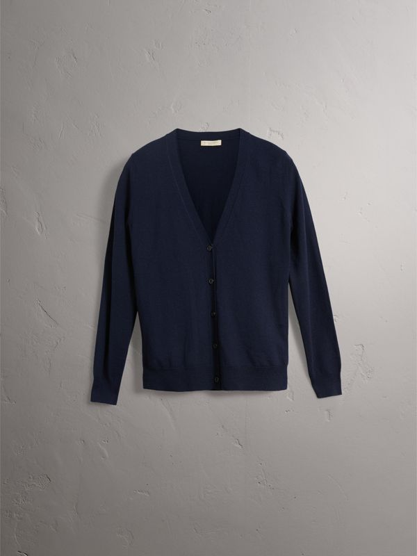 Check Detail Merino Wool Cardigan in Navy - Women | Burberry - cell image 3