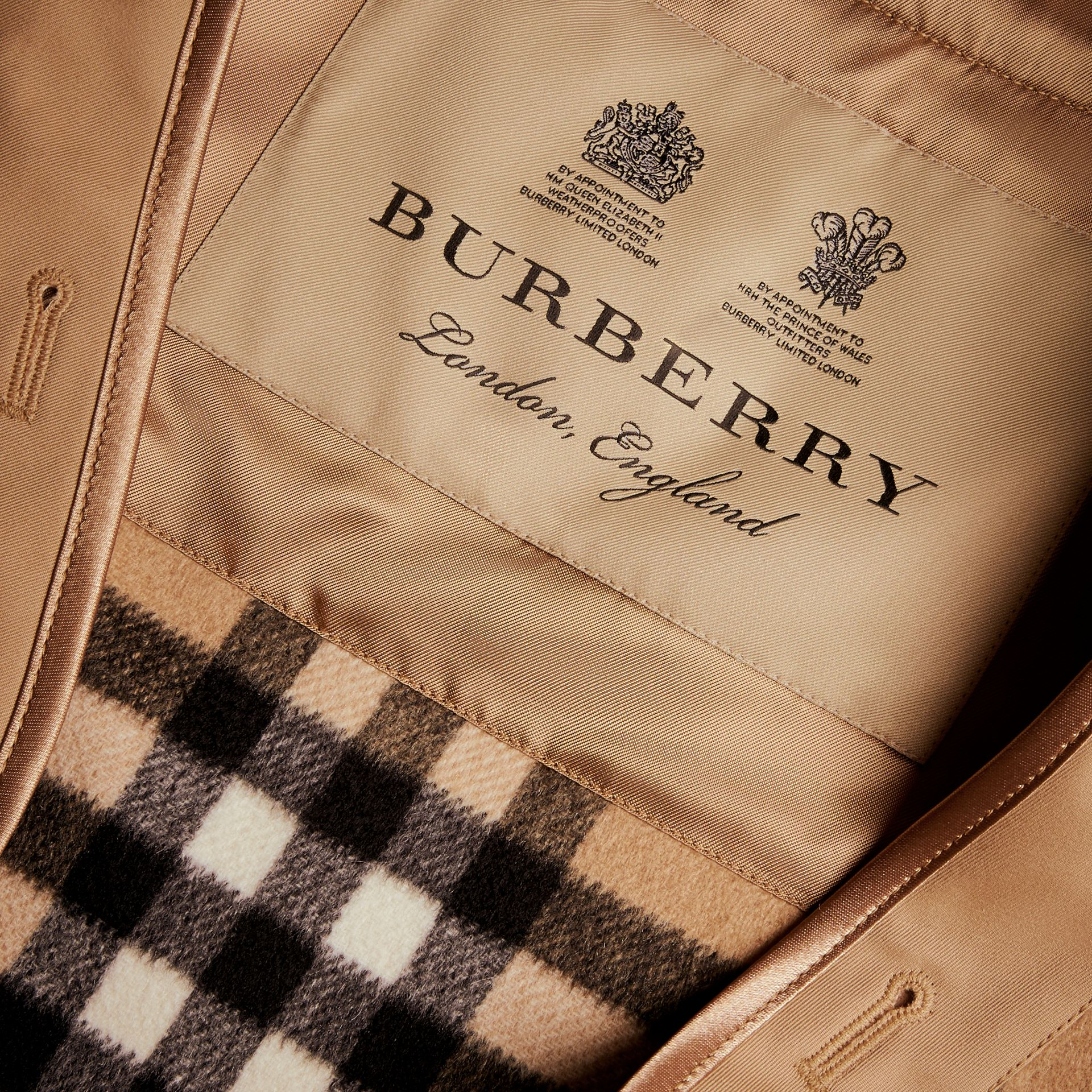 Sandringham Fit House Check Cashmere Wool Warmer in Camel - Men | Burberry - gallery image 1
