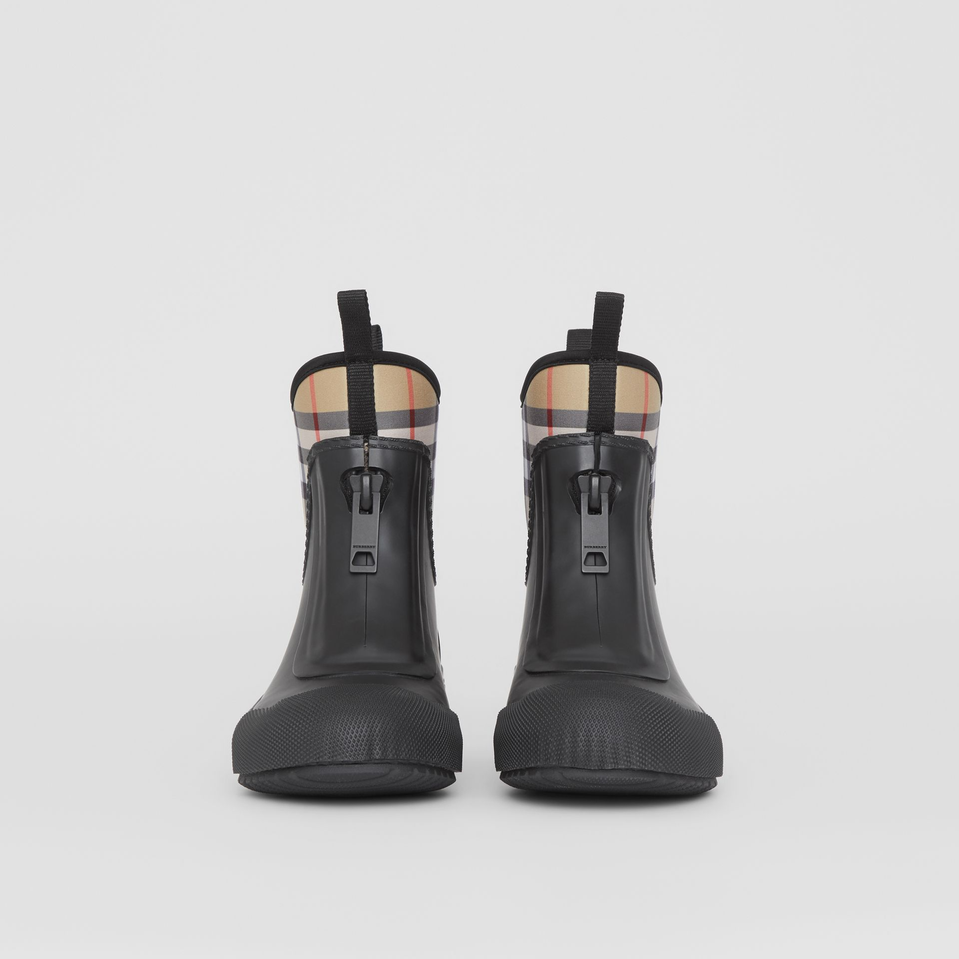 Vintage Check Neoprene and Rubber Rain Boots in Black - Women | Burberry Australia - gallery image 2
