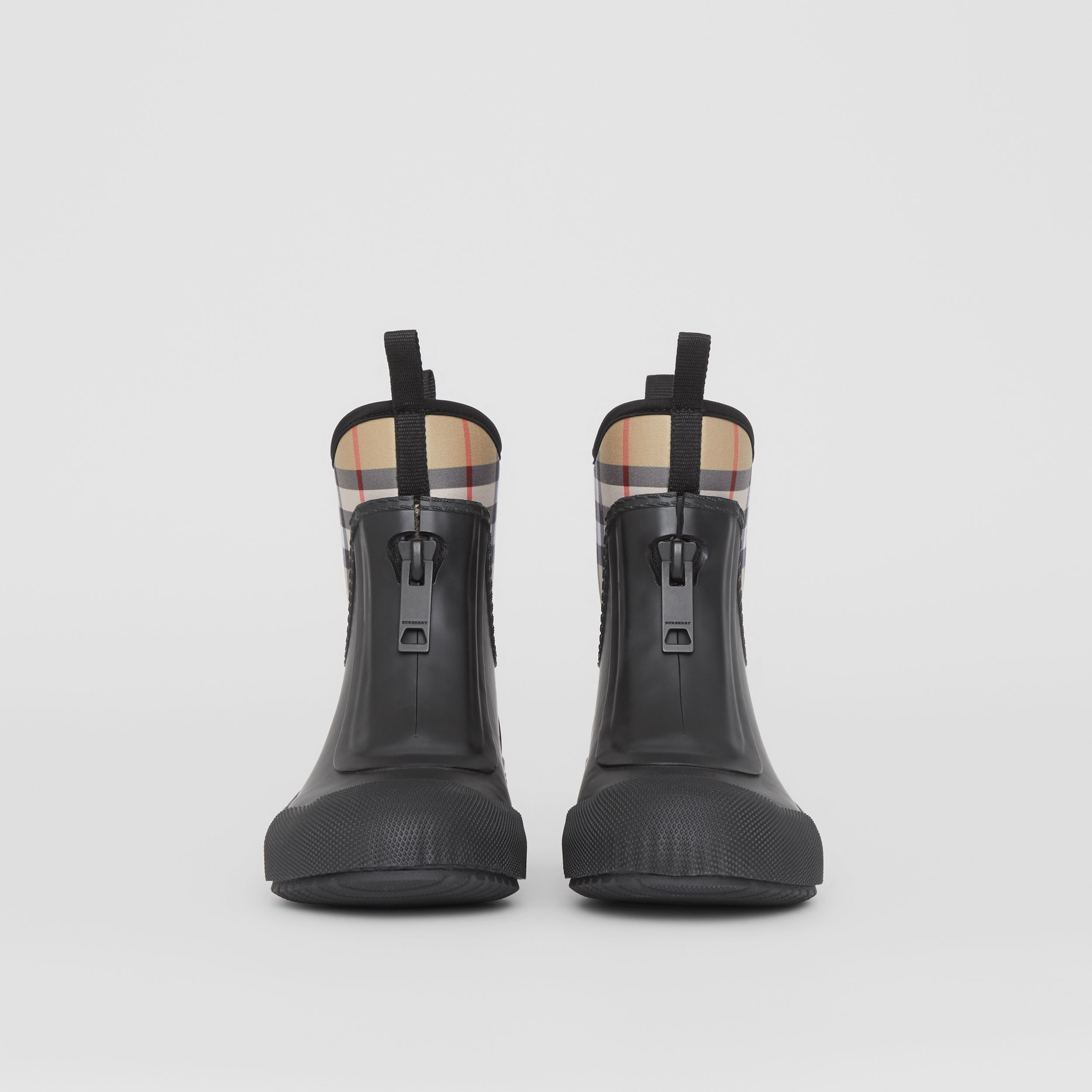 Vintage Check Neoprene and Rubber Rain Boots in Black - Women | Burberry - 4