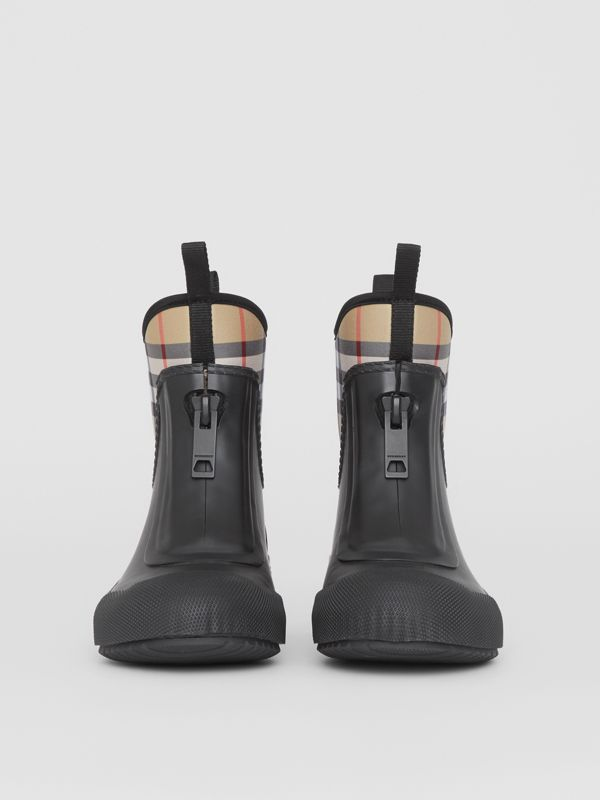 Vintage Check Neoprene and Rubber Rain Boots in Black - Women | Burberry - cell image 3