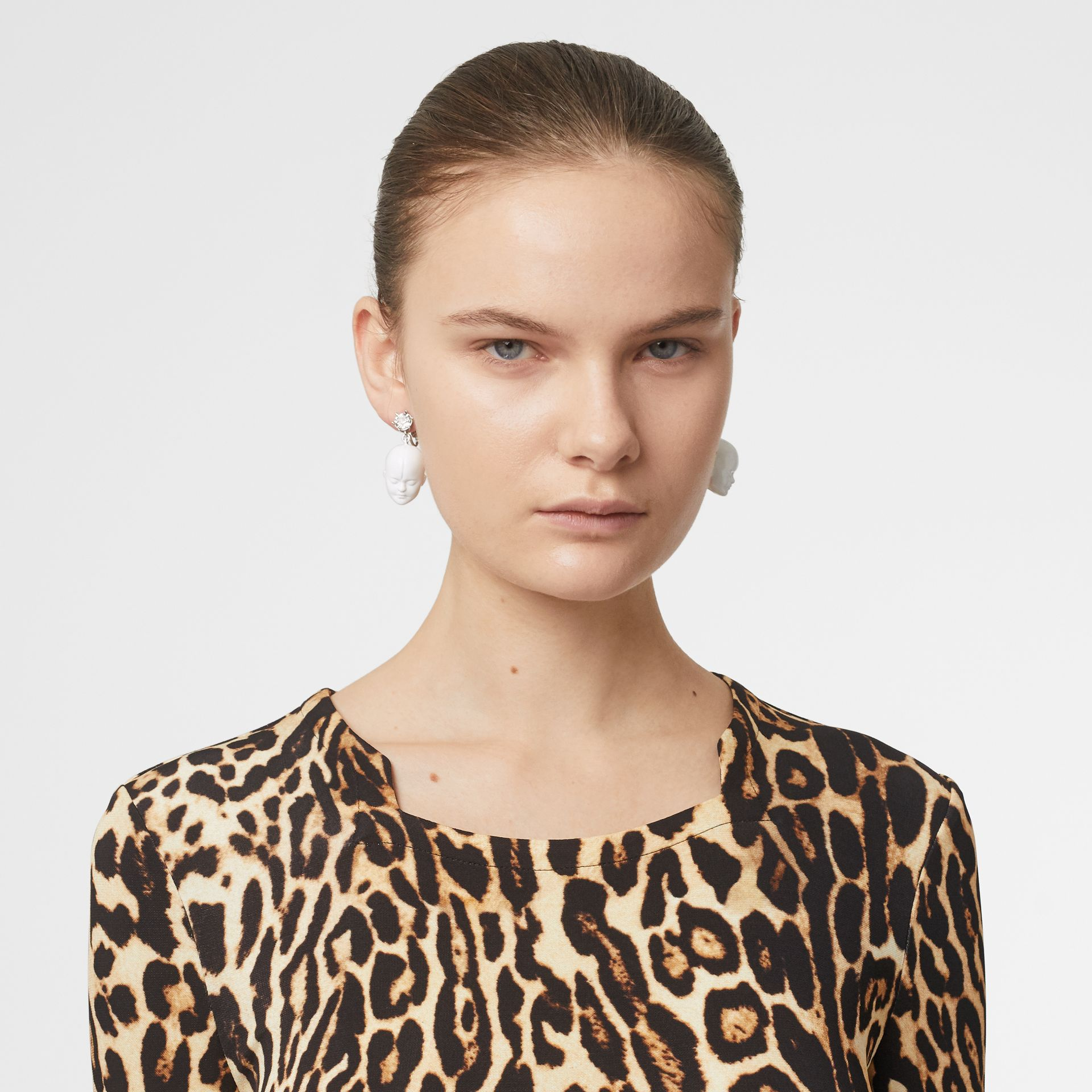 Leopard Print Stretch Jersey Mini Dress in Camel - Women | Burberry - gallery image 1