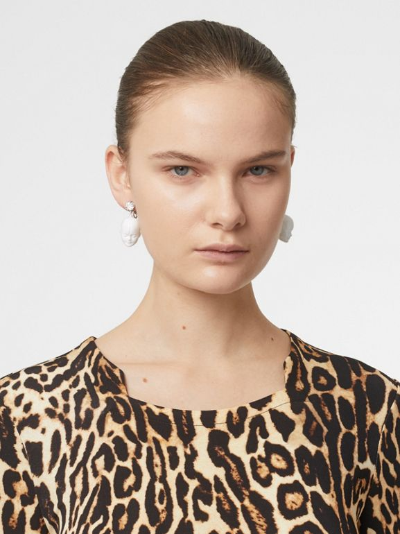Leopard Print Stretch Jersey Mini Dress in Camel - Women | Burberry - cell image 1