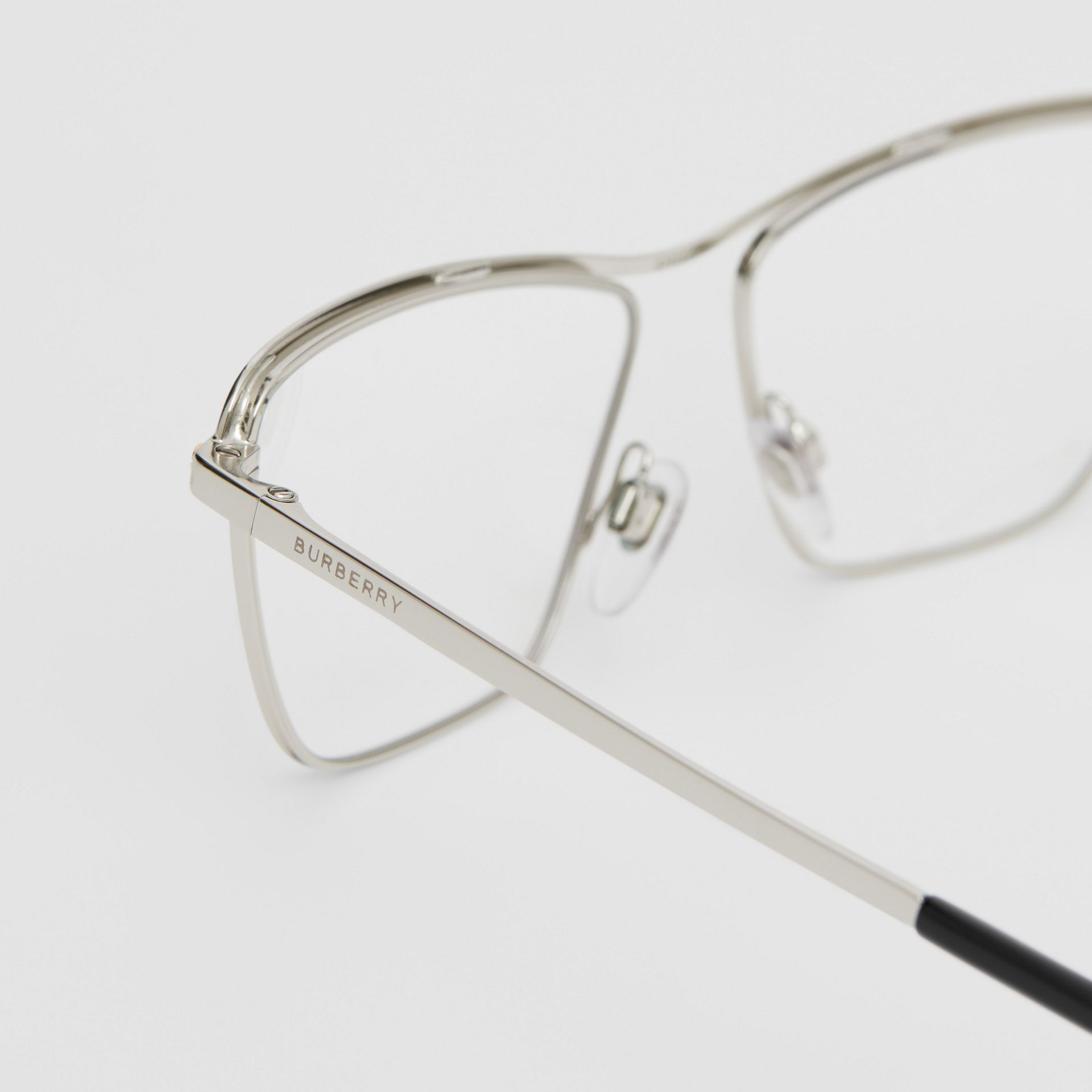 Rectangular Optical Frames in Silver - Women | Burberry - gallery image 1
