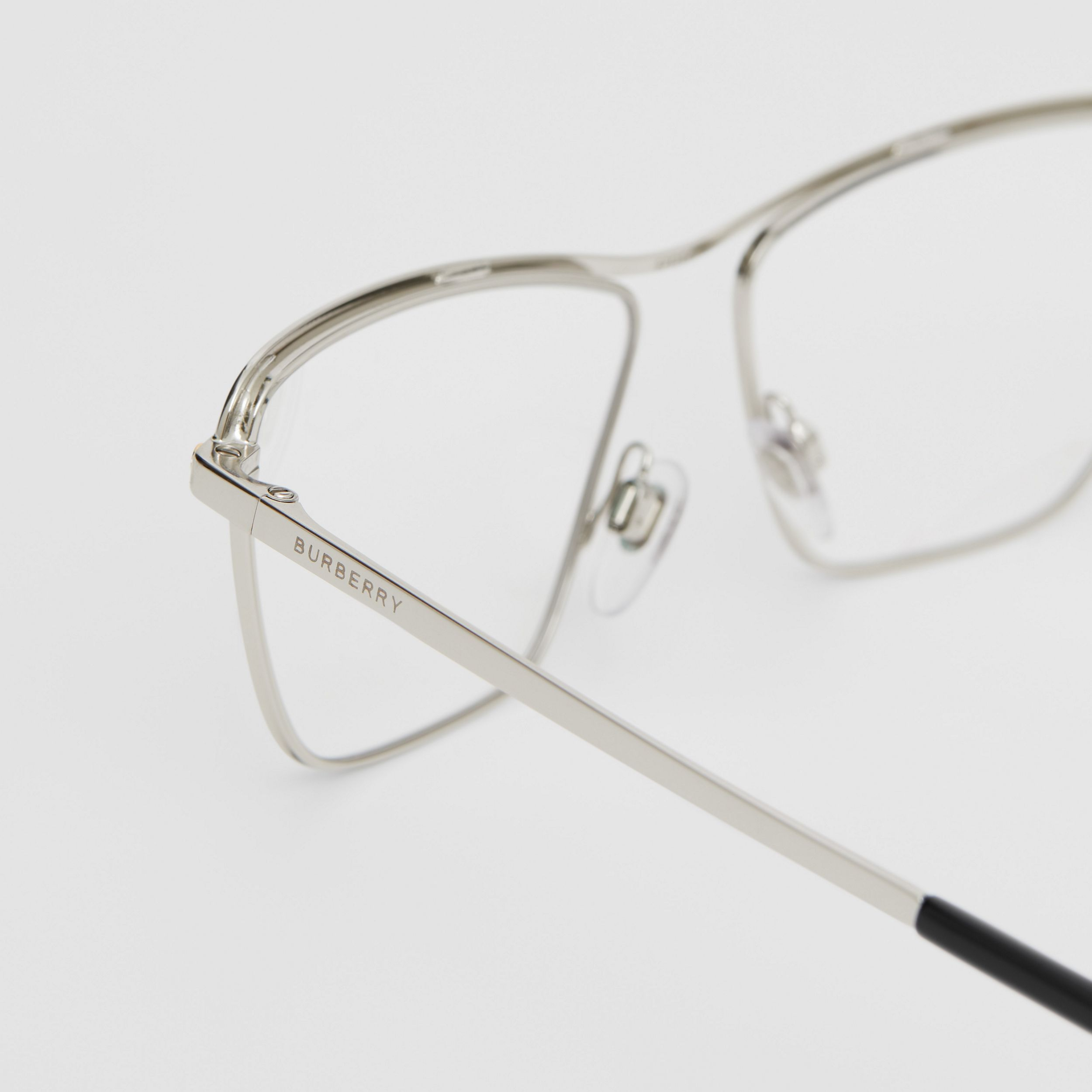 Rectangular Optical Frames in Silver - Women | Burberry - 2