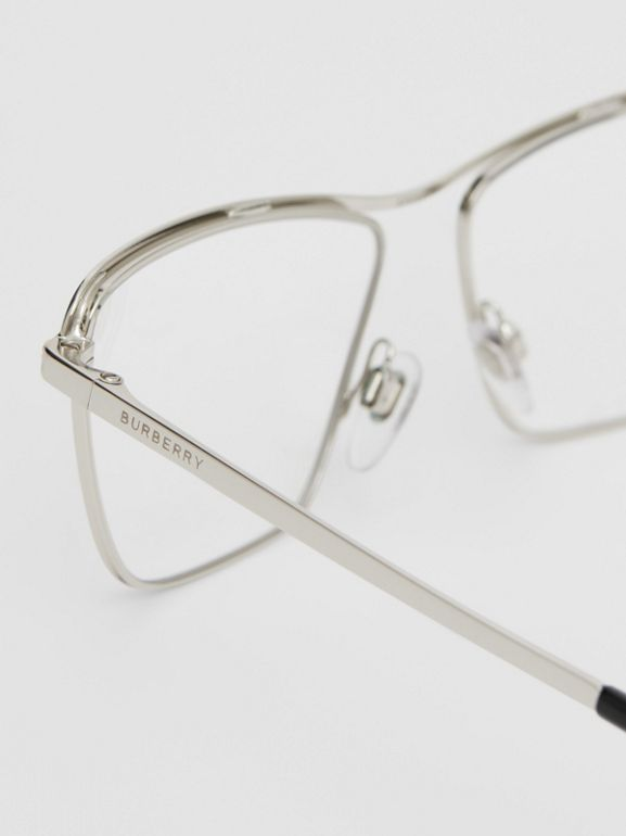Rectangular Optical Frames in Silver - Women | Burberry - cell image 1