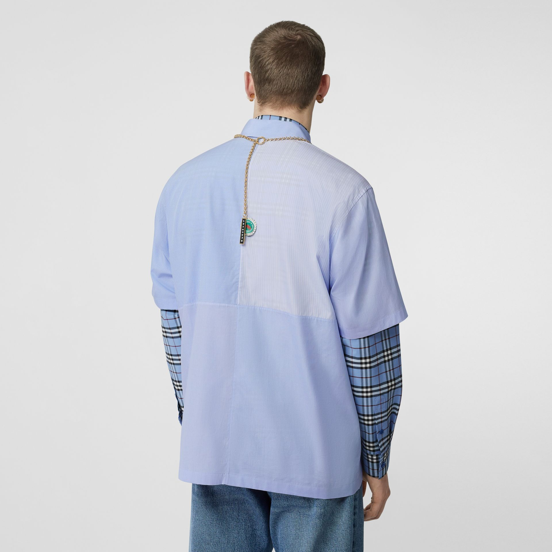 Short-sleeve Logo Graphic Patchwork Cotton Shirt in Pale Blue - Men | Burberry - gallery image 2