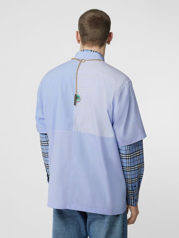Short-sleeve Logo Graphic Patchwork Cotton Shirt in Pale Blue - Men | Burberry - cell image 2