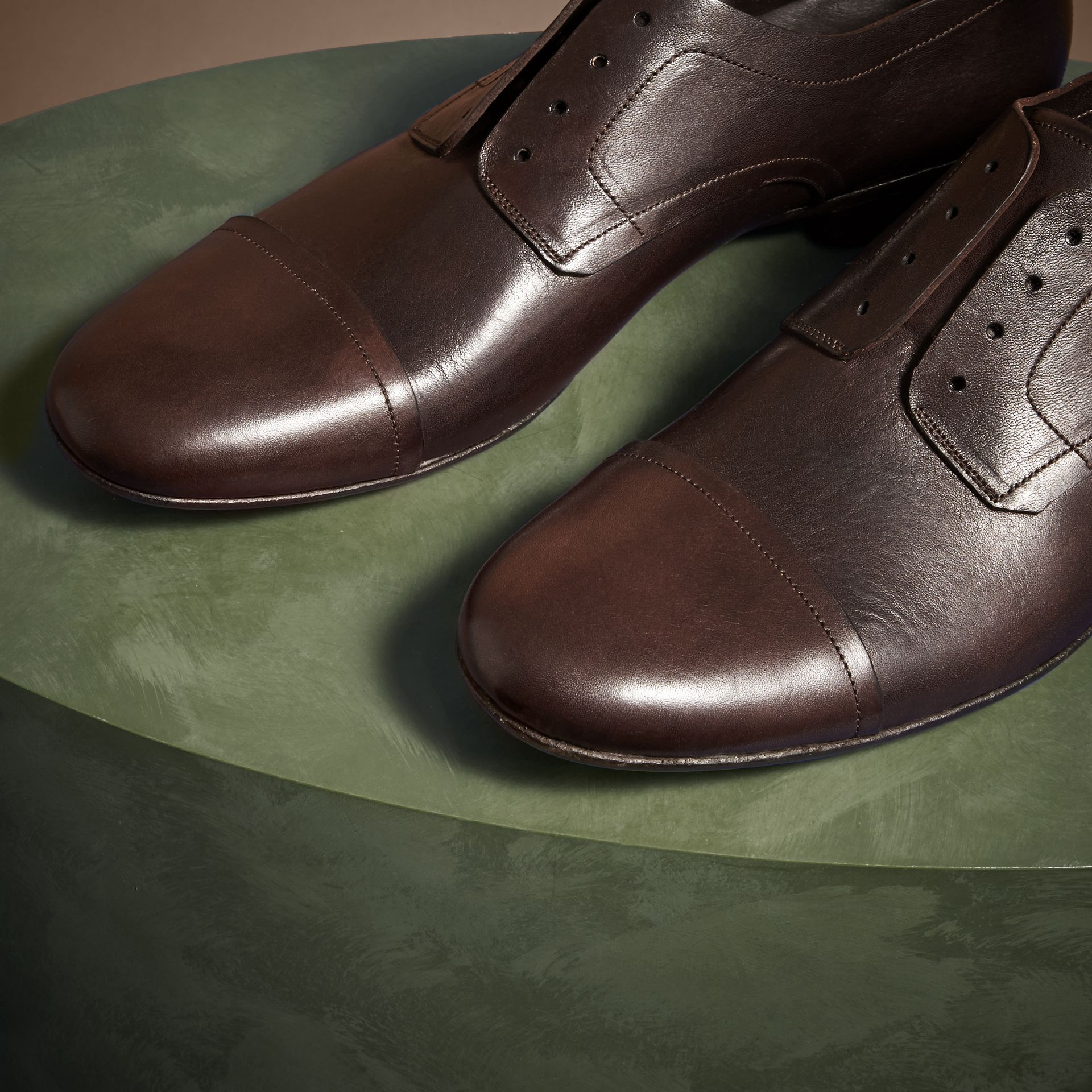 Ebony Washed Leather Derby Shoes - gallery image 3