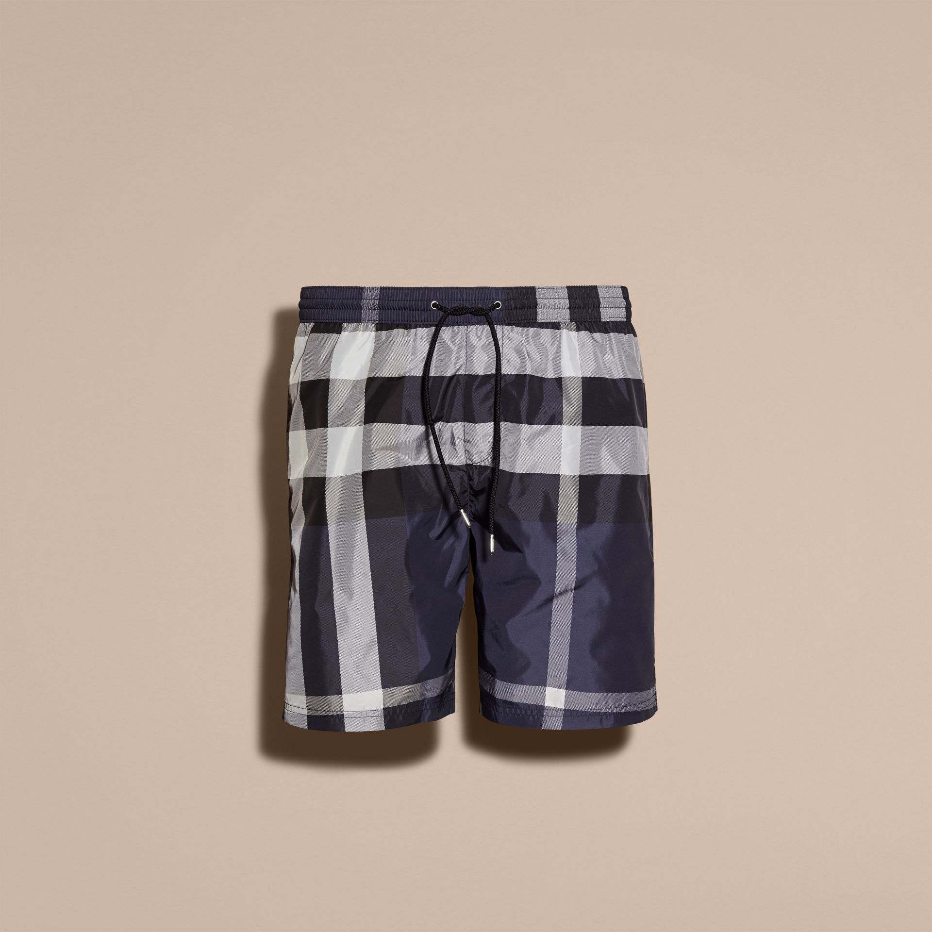 Check Swim Shorts in Ink - Men | Burberry Singapore - gallery image 4