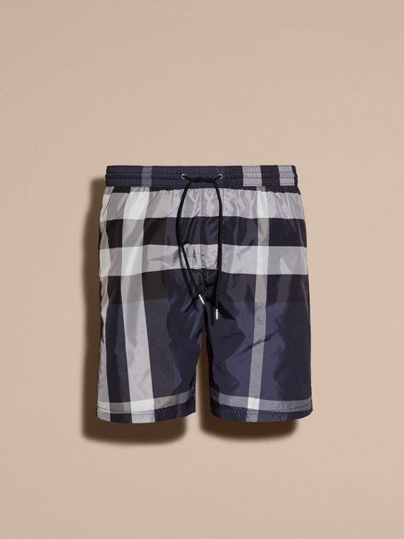 Check Swim Shorts in Ink - Men | Burberry