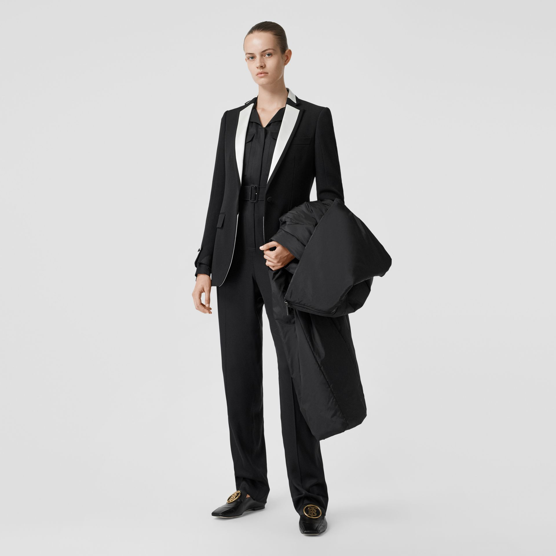 Silk Panel Wool Tailored Jacket in Black - Women | Burberry - gallery image 0