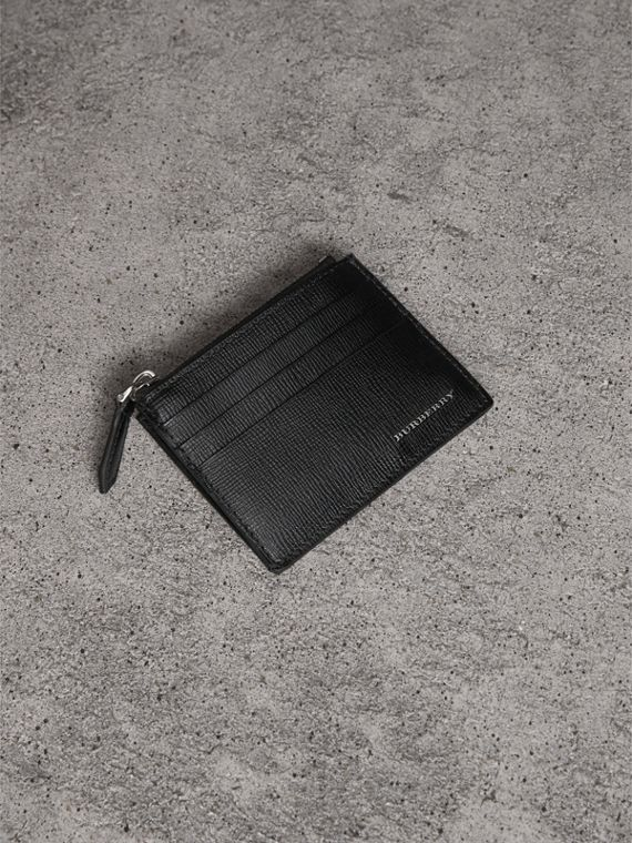 London Leather Zip-top Card Case in Black