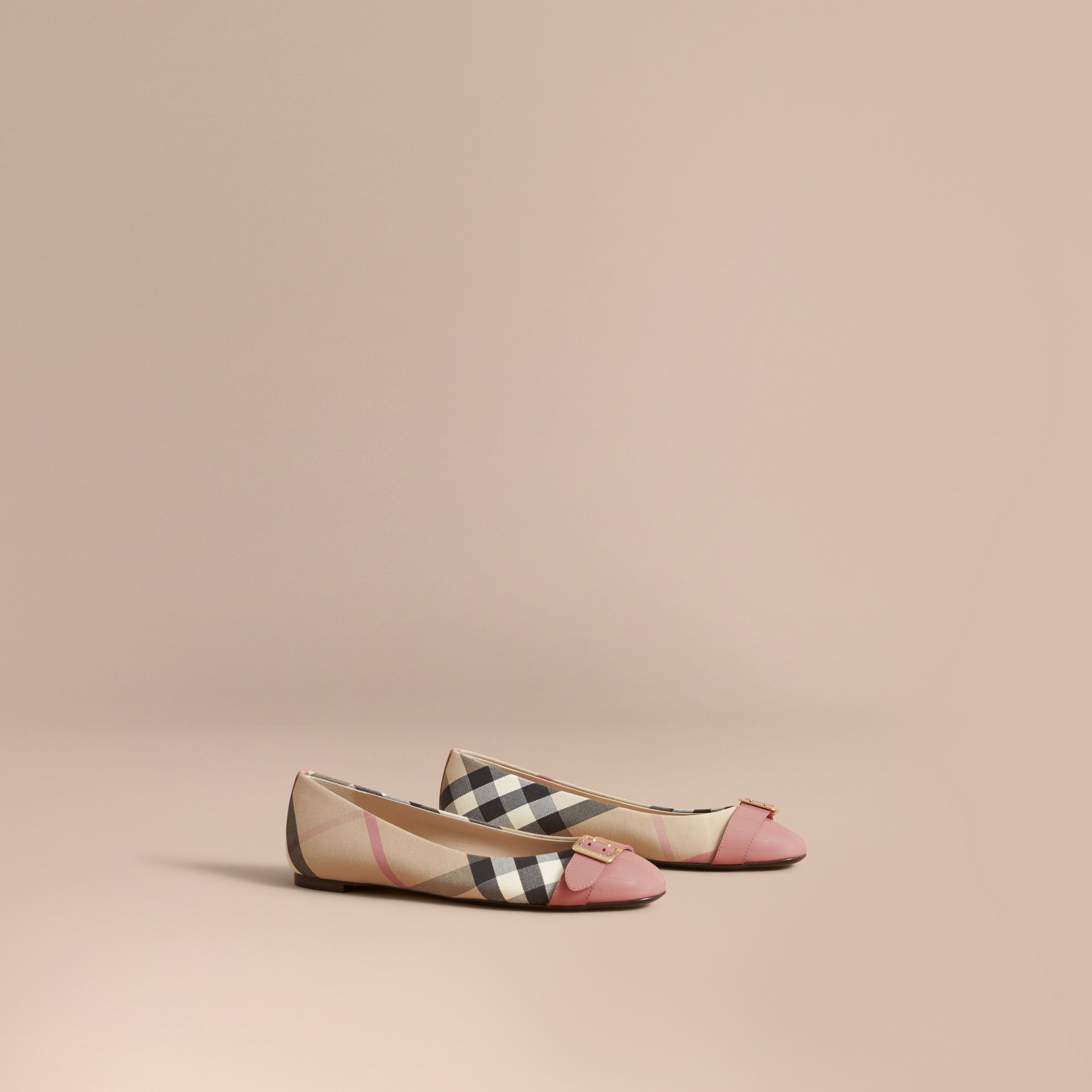 Buckle Detail Check and Patent Leather Ballerinas in Nude Pink - Women | Burberry - gallery image 1