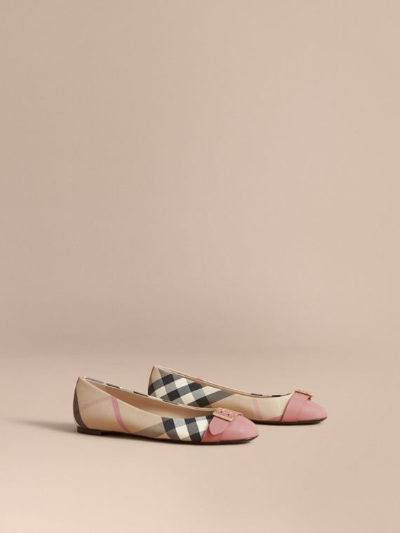 Buckle Detail Check and Patent Leather Ballerinas in Nude Pink