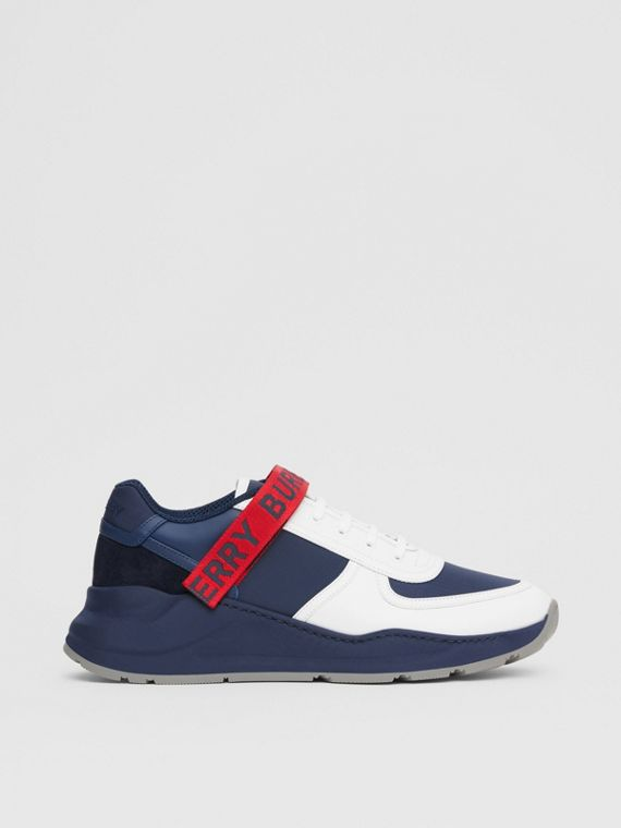 Logo Detail Leather and Suede Sneakers in Navy