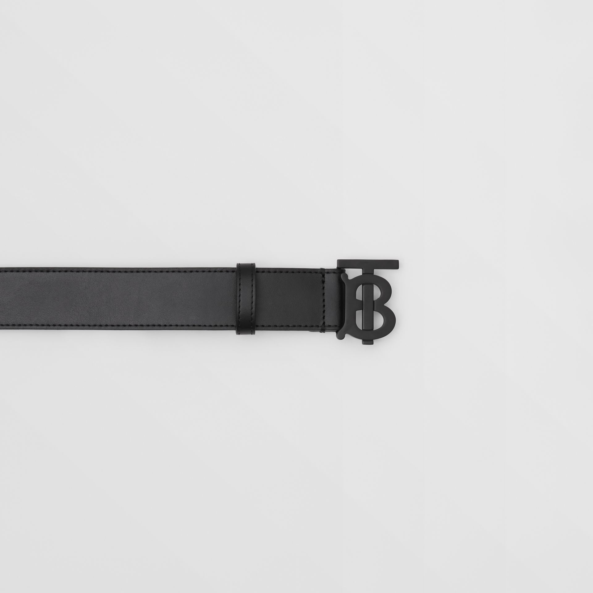 Matte Monogram Motif Leather Belt in Black - Men | Burberry United States - gallery image 1