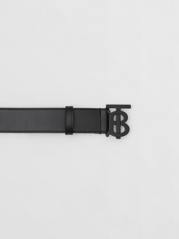 Matte Monogram Motif Leather Belt in Black - Men | Burberry - cell image 1