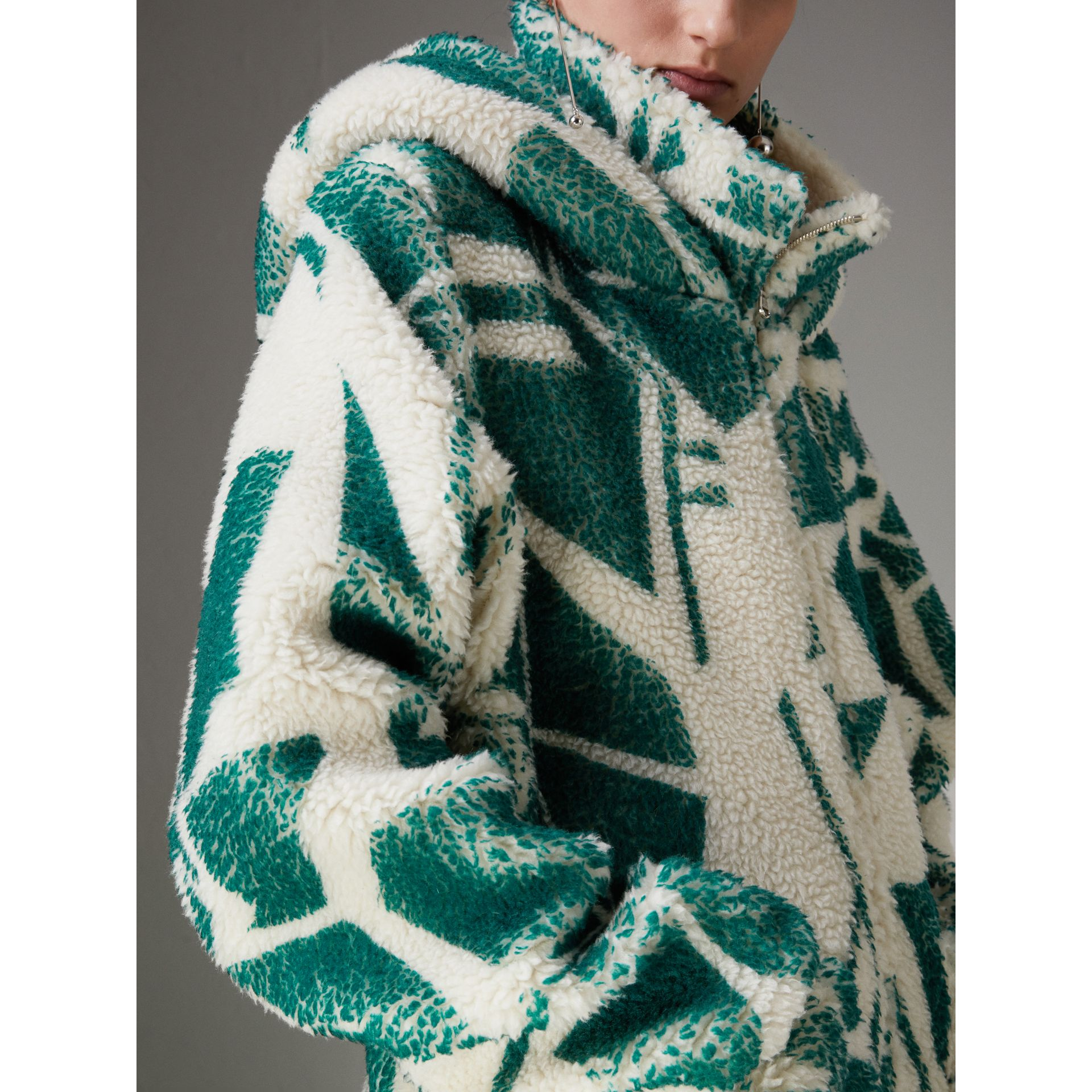 Floral Print Cashmere-silk Fleece Zipped Hoodie in Forest Green - Women | Burberry Hong Kong - gallery image 1