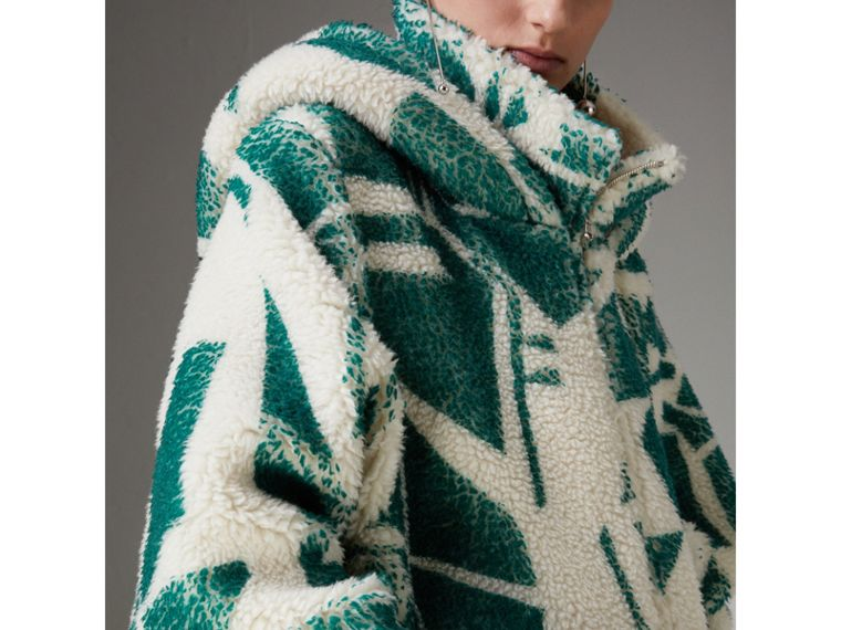 Floral Print Cashmere-silk Fleece Zipped Hoodie in Forest Green - Women | Burberry Hong Kong - cell image 1
