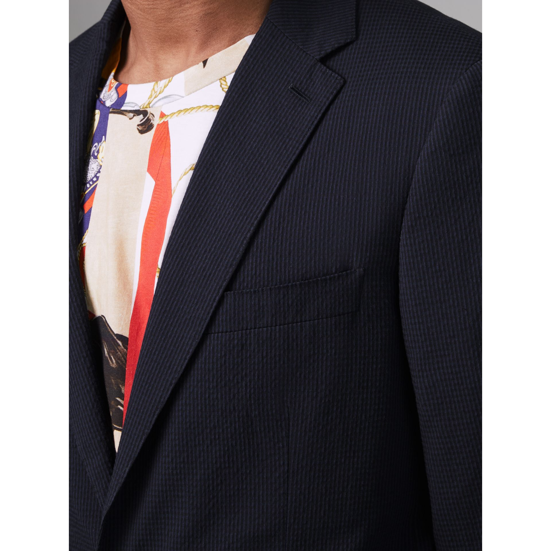 Soho Fit Cotton Silk Seersucker Suit in Navy - Men | Burberry - gallery image 1