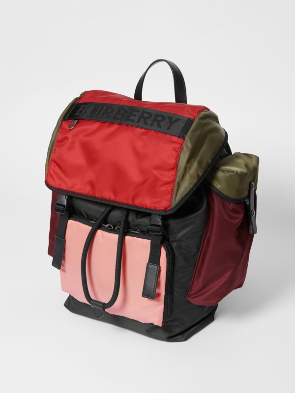 Large Leather Trim Colour Block Nylon Backpack in Multicolour | Burberry United States - cell image 2