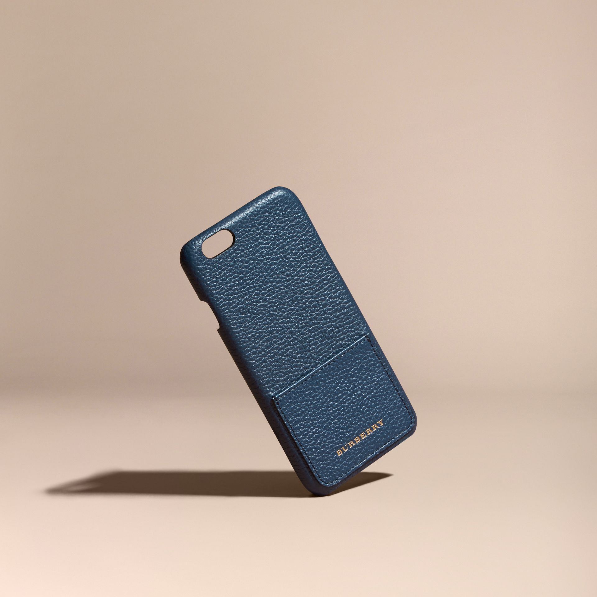 Grainy Leather iPhone 6 Case in Bright Navy | Burberry - gallery image 1
