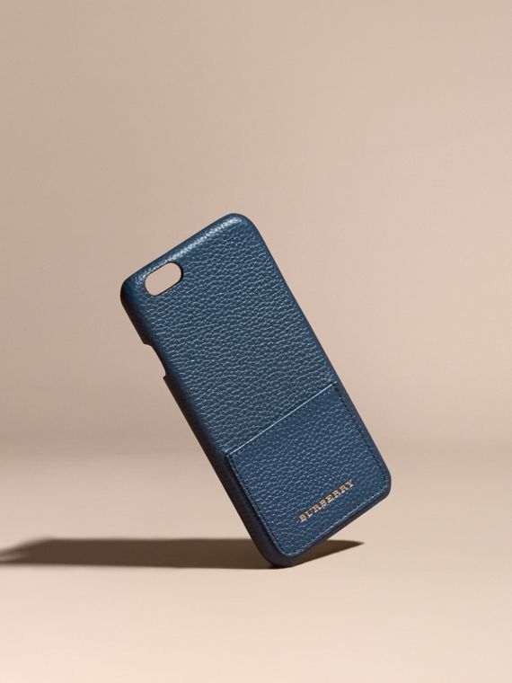 Grainy Leather iPhone 6 Case in Bright Navy | Burberry Canada