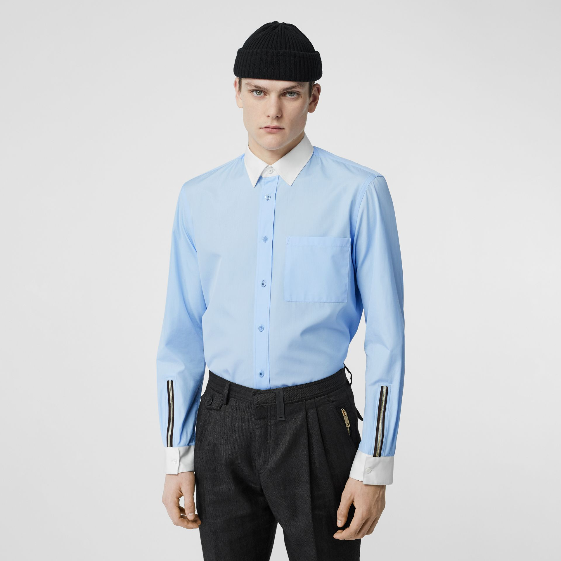 Classic Fit Zip Detail Cotton Poplin Shirt in Pale Blue - Men | Burberry - gallery image 0