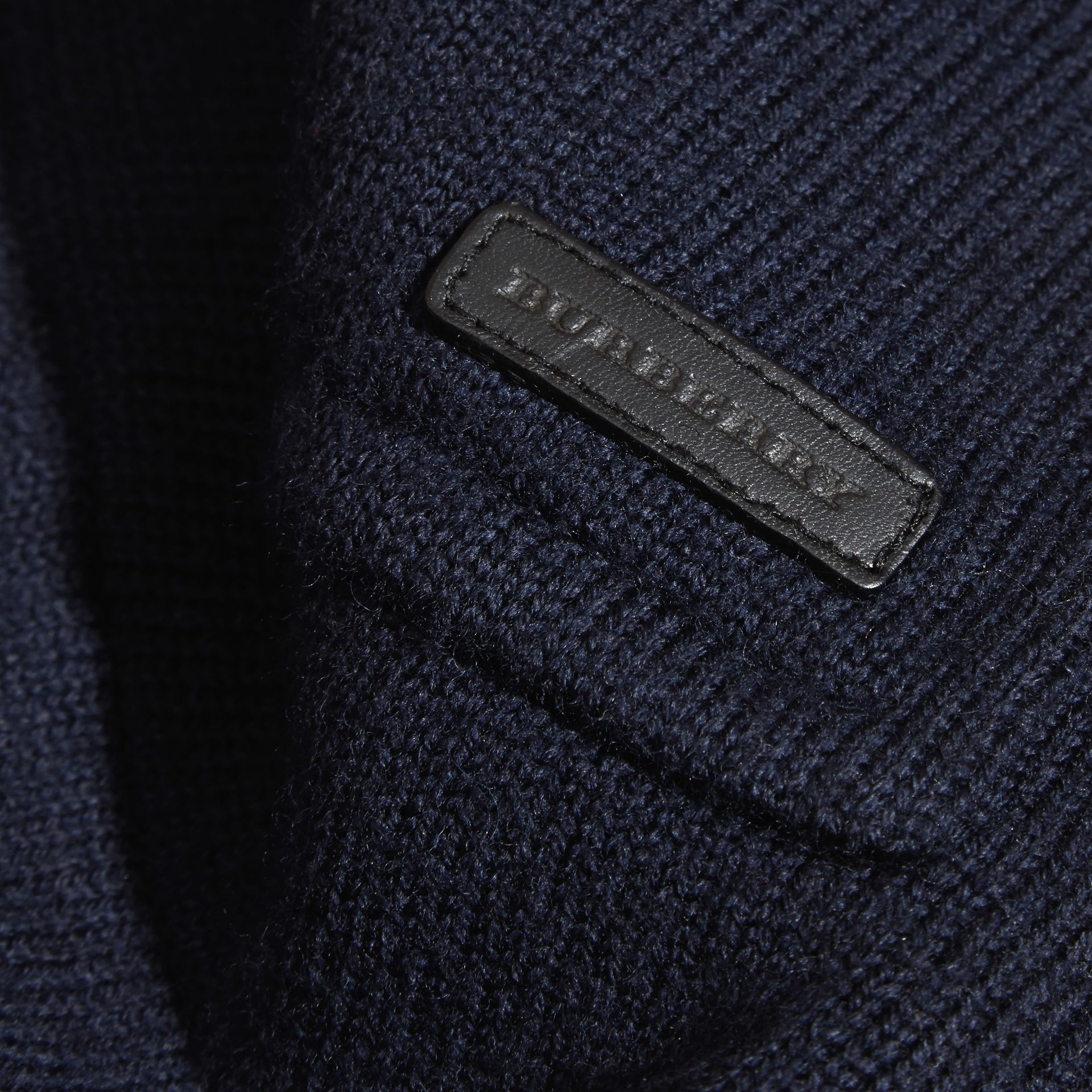 Navy Knitted Merino Wool Pea Coat - gallery image 2