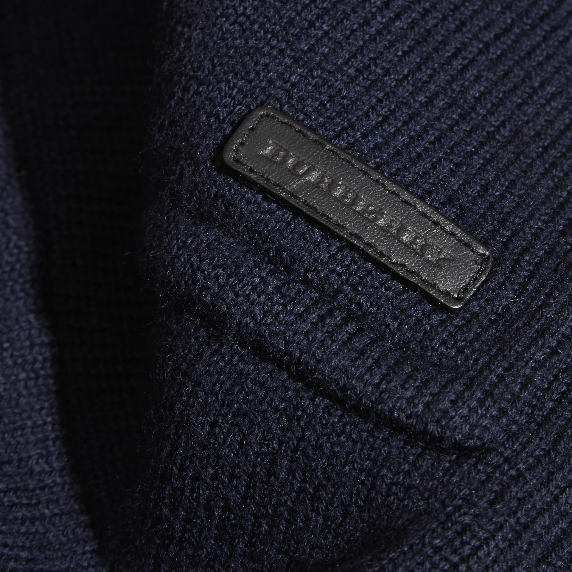 Темно-синий Полупальто из шерстяного трикотажа - изображение 2