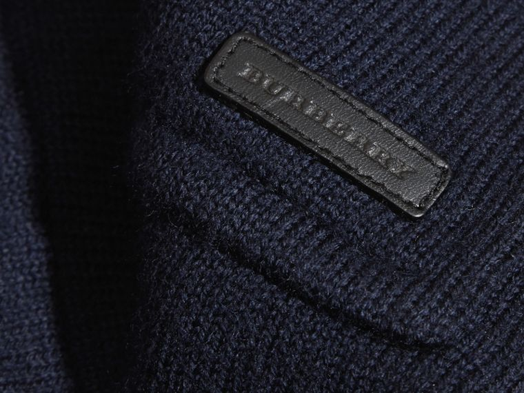 Navy Knitted Merino Wool Pea Coat - cell image 1