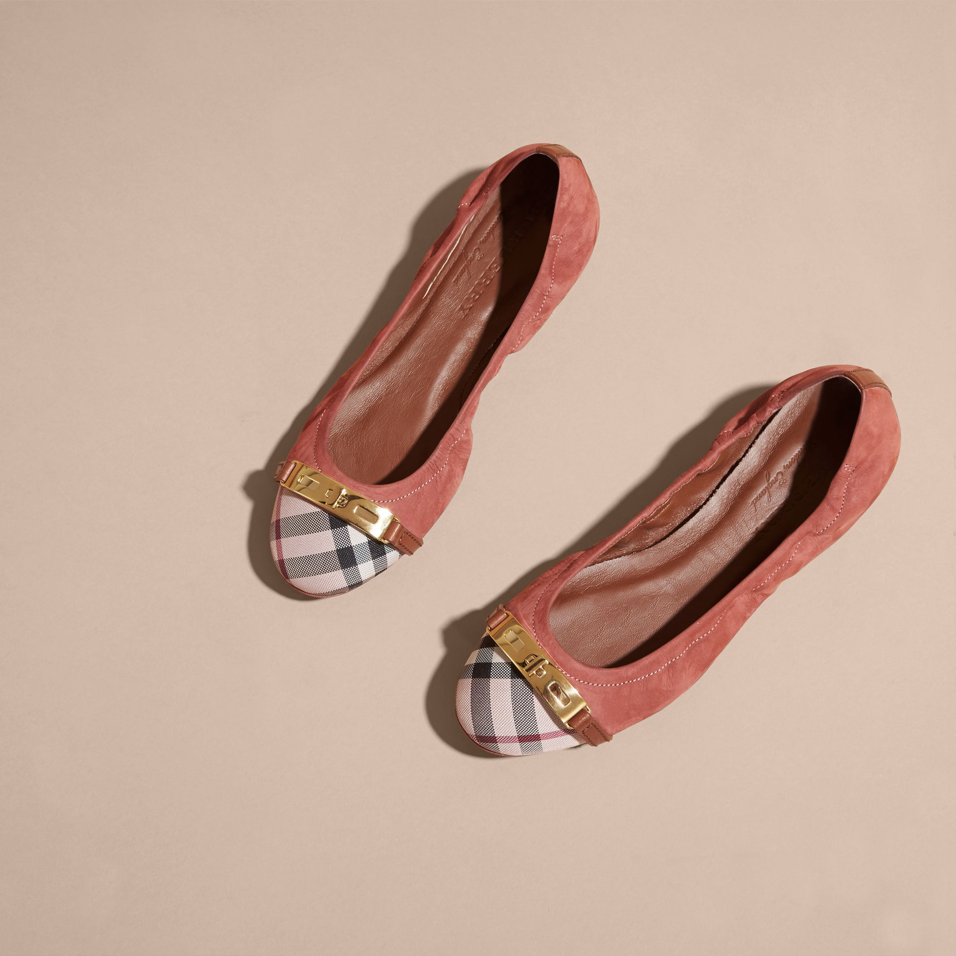 Antique pink Check Detail Suede Ballerinas - gallery image 3
