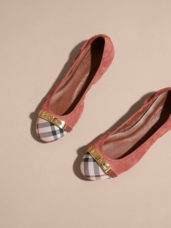 Antique pink Check Detail Suede Ballerinas - cell image 2