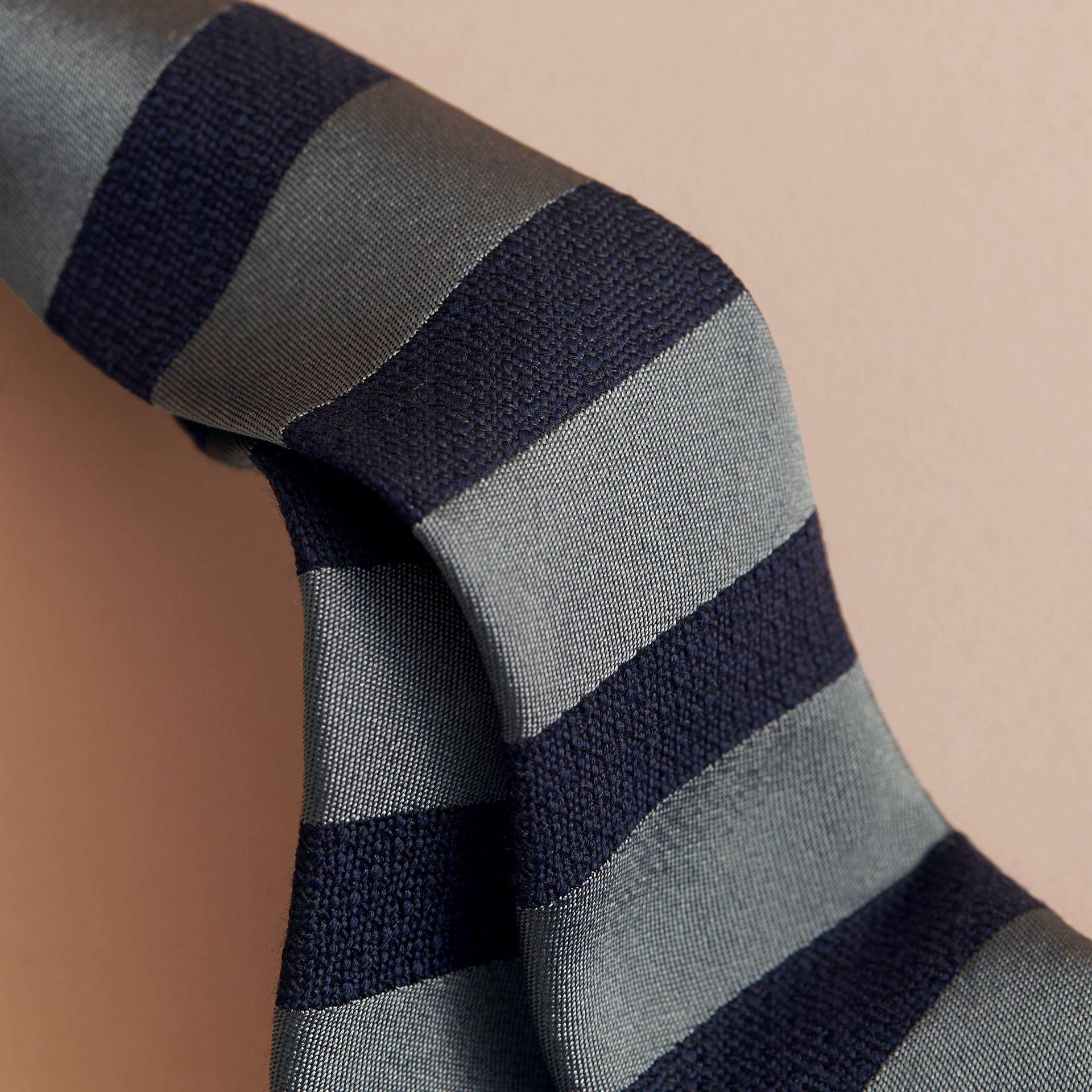 Slim Cut Striped Silk Wool Tie in Sage Green - Men | Burberry - gallery image 1